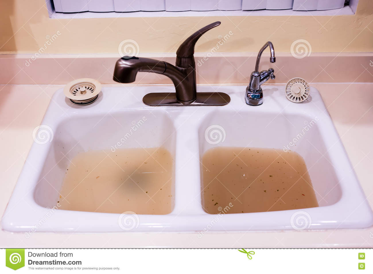 Clogged Kitchen Sink Stock Photo Image Of Drain Clog