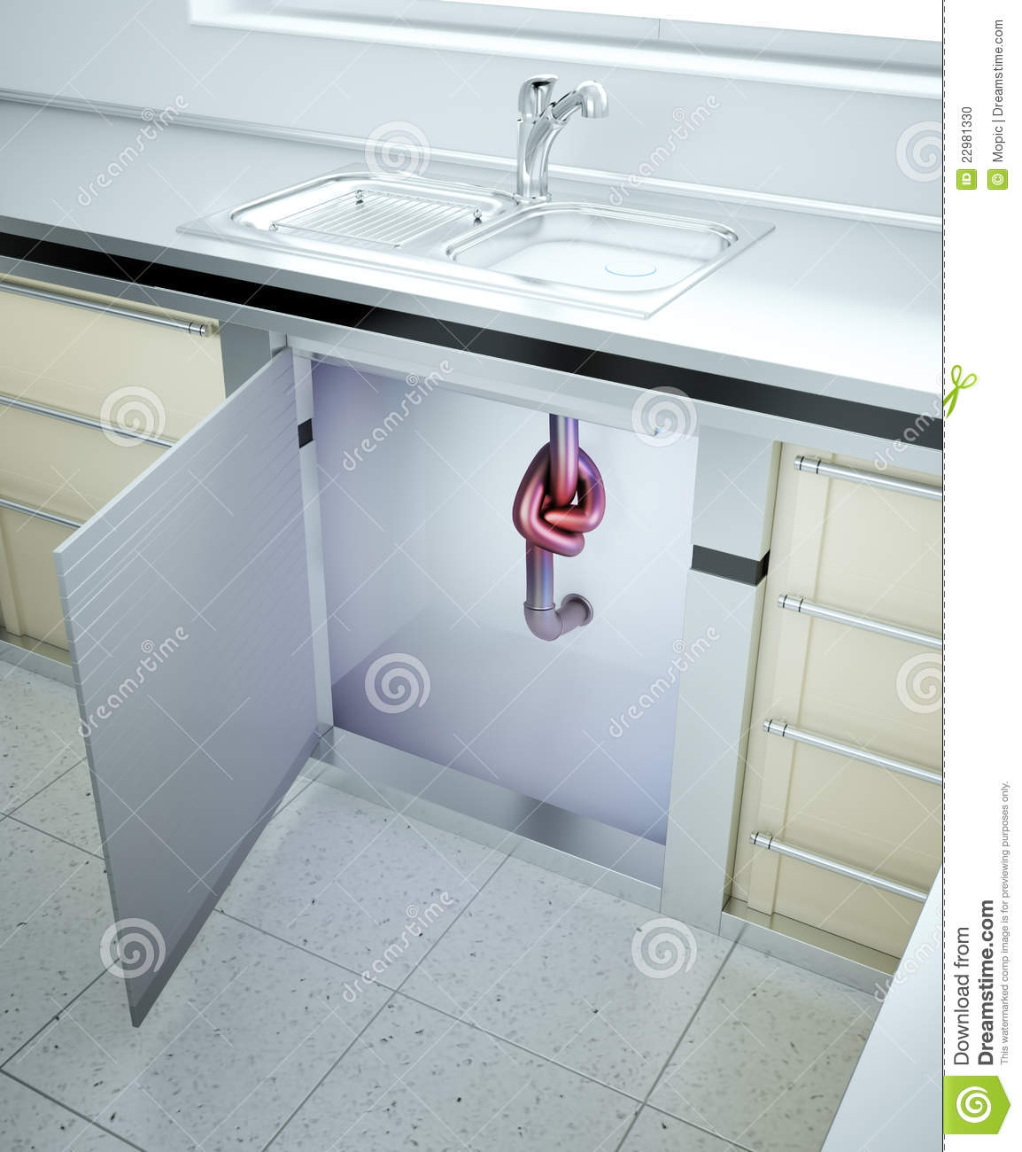 Clogged sink stock illustration. Illustration of pipe - 22981330