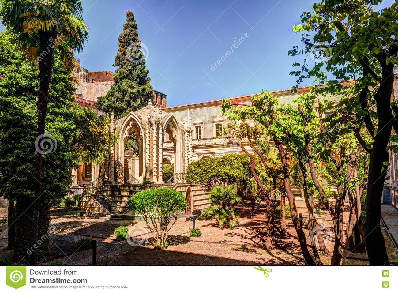 Cloister of the Benedictine Monastery of San Nicolo l`Arena in Catania,