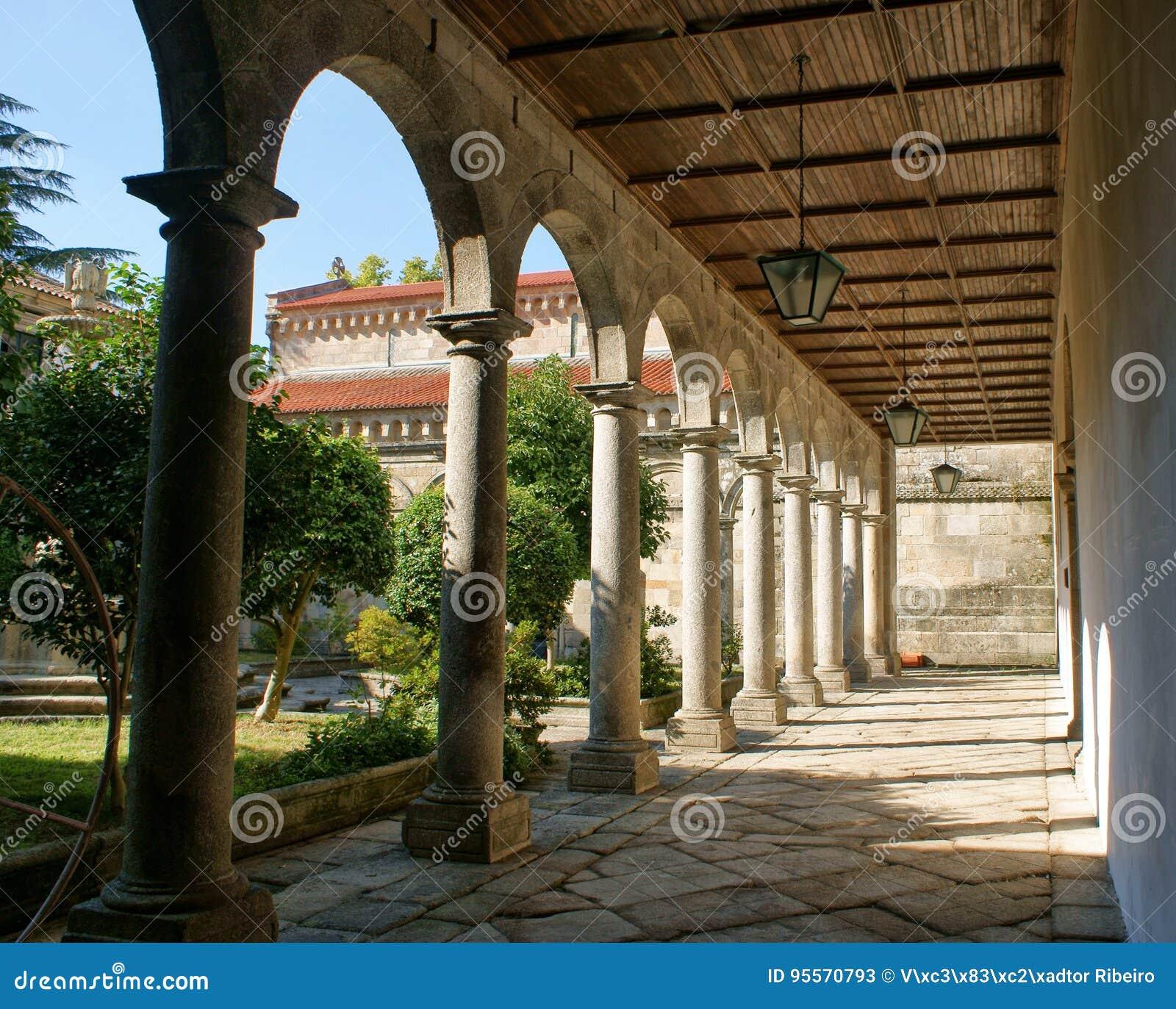 Cloister of romanesque monastery of Paco de Sousa