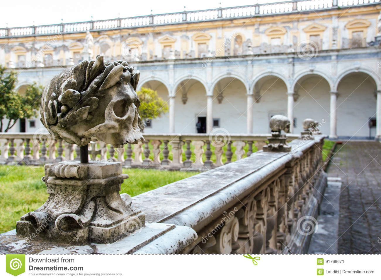 The Cloister Of San Martino Chartreuse In Naples Stock Image Image Of Baroque Creepy 91769671
