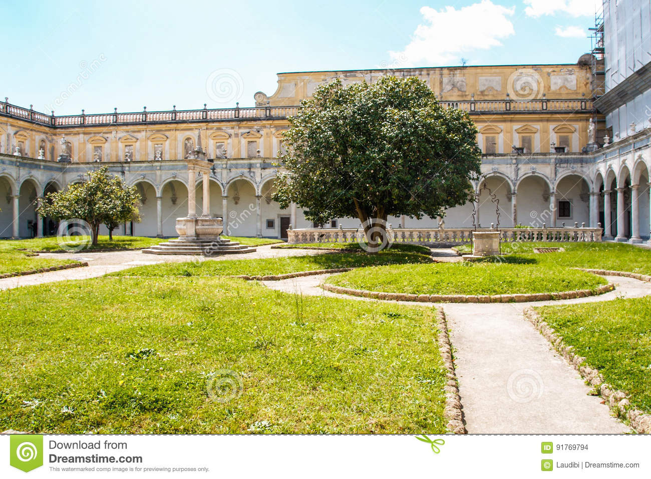 The Cloister Of San Martino Chartreuse In Naples Stock Photo Image Of Creepy Death 91769794