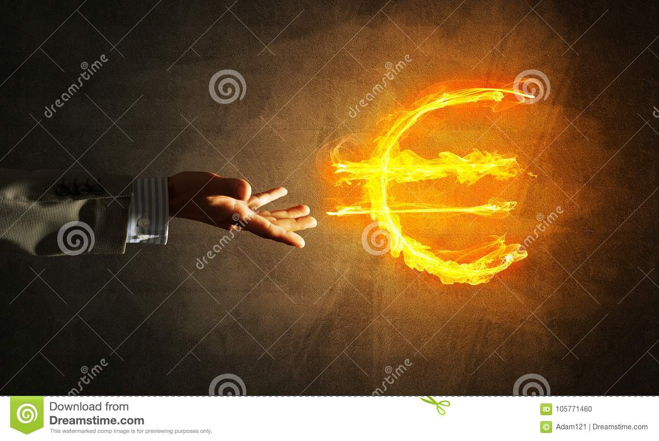 Concept of money making with euro currency fire symbol on dark concept of money making with euro currency fire symbol on dark background biocorpaavc Images
