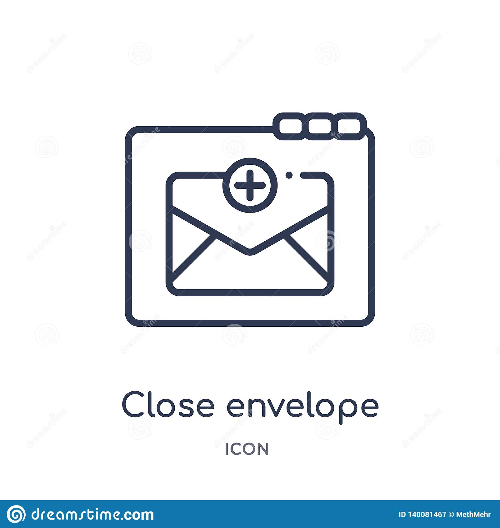 Close envelope icon from web outline collection. Thin line close envelope icon isolated on white background