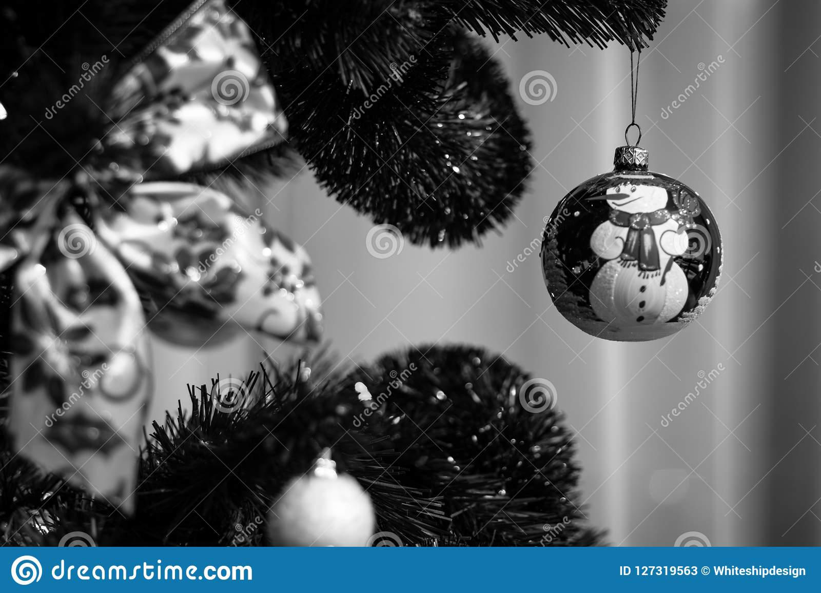 Black And White Christmas Tree Decoration Ball Stock Image Image Of Bauble Isolated 127319563