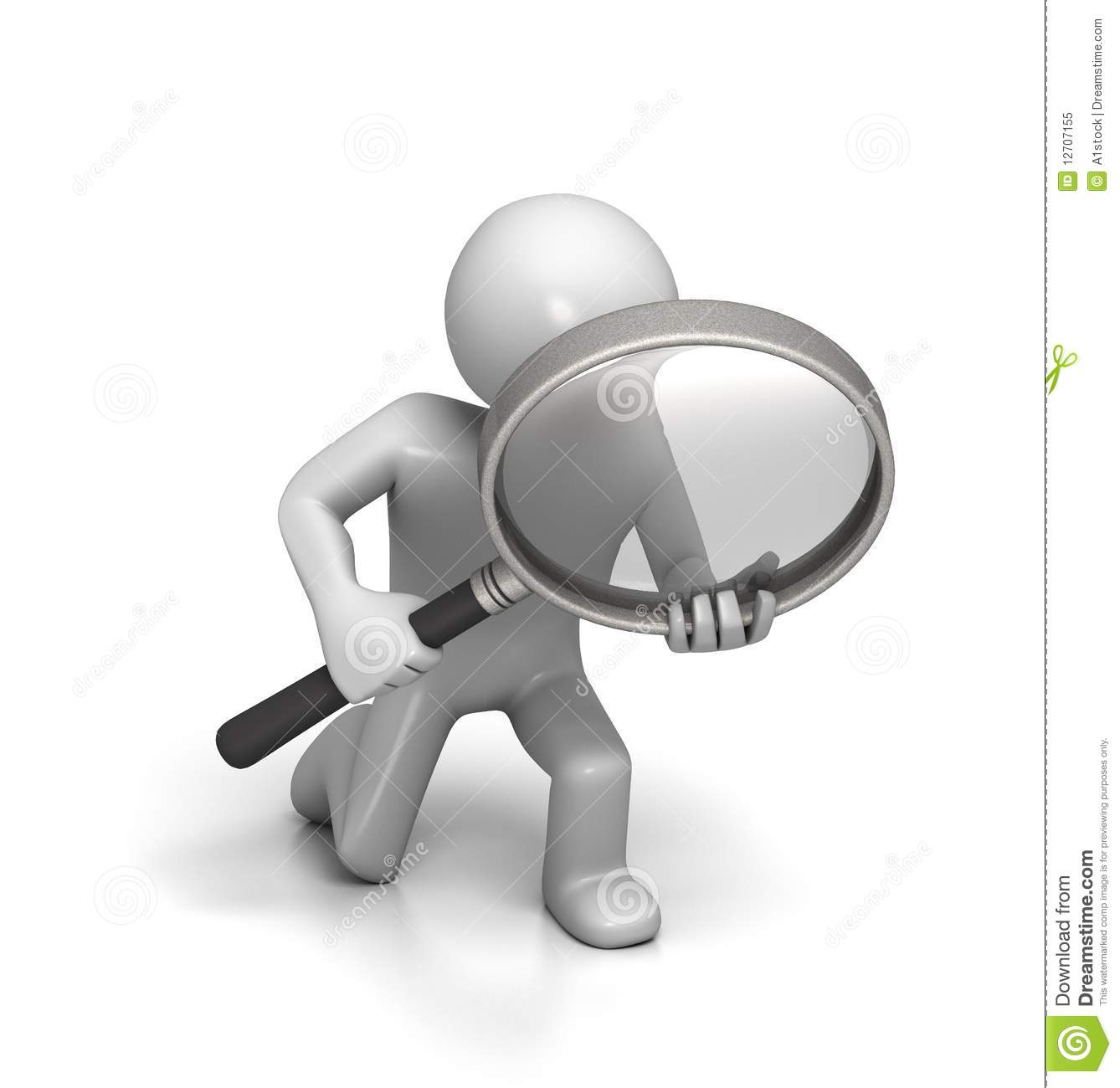 ... something with a large magnifying glass. Isolated on white background