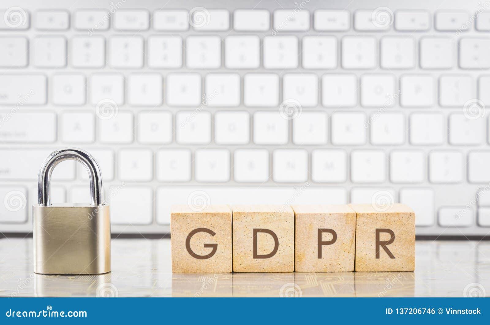 Close key lock with word GDPR, keyboard background
