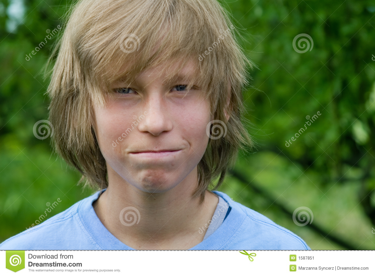 Close-Mouthed Teen Boy Stock Image - Image: 1587851