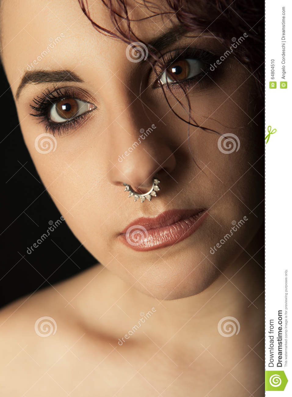 Close Portrait Young Girl With Nose Ring Stock Photo Image Of Cute Expression 64804510