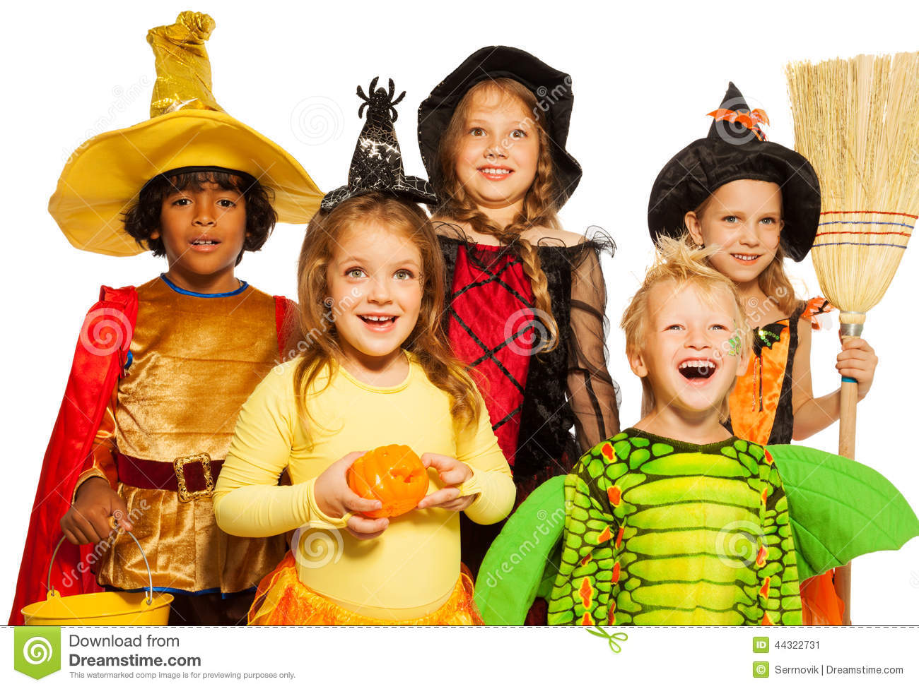 close shoot of five kids in halloween costumes