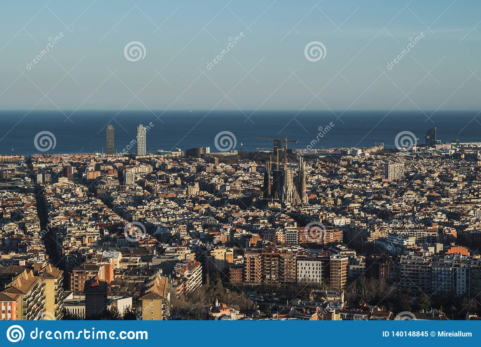This is the spectacular view of Barcelona, Spain. In the picture it can be spotted the Sagrada Familia Sacred Family of Antoni