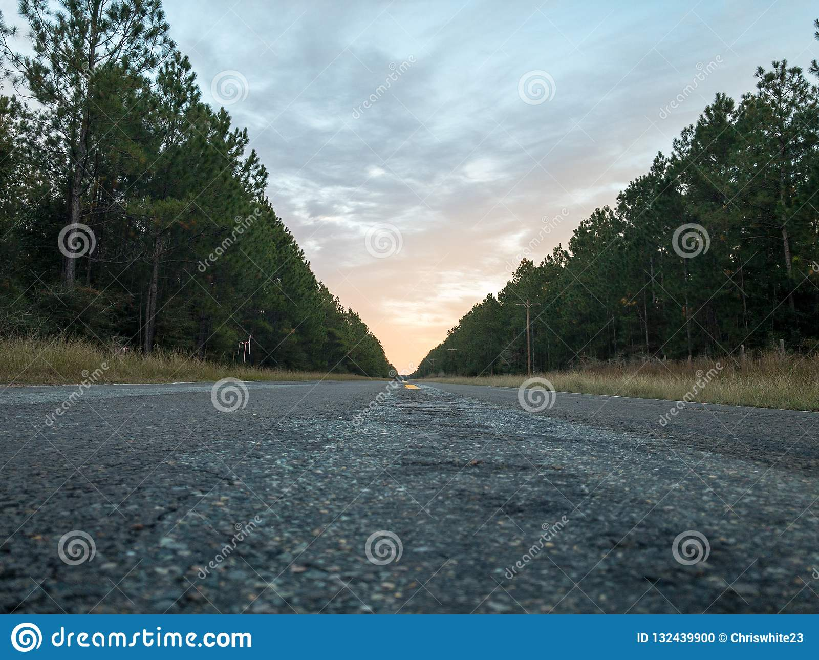 Close to sunset along a lonely rural highway