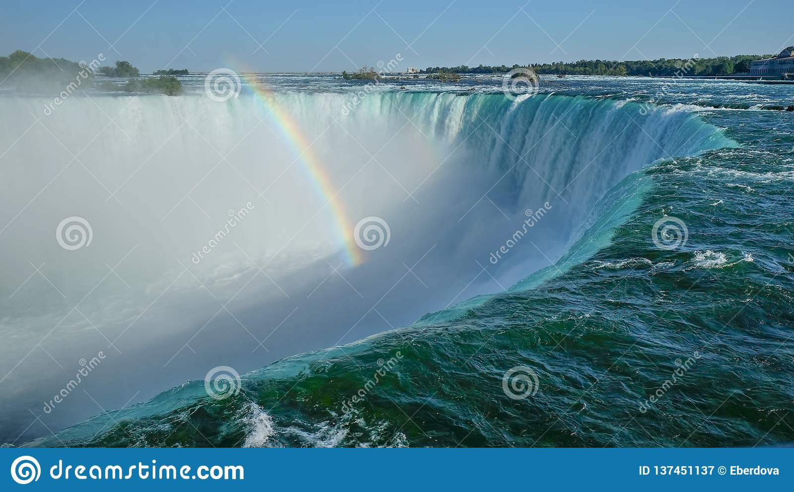 Close unabstracted view of Niagara Falls cliff edge from Canadian side.
