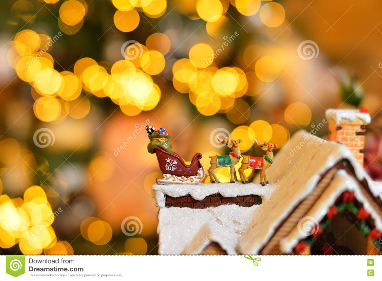 Close Up Adorable Reindeer And Santa Sleigh With Presents For ...
