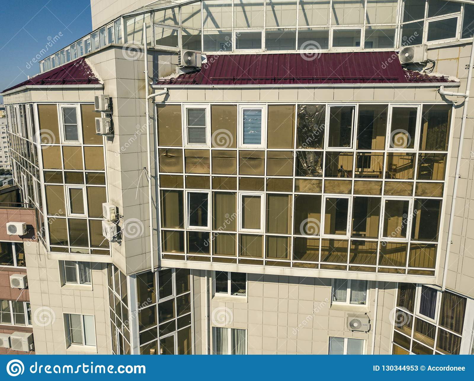 Close up aerial glass balcony in the skyscraper, luxury apartments f