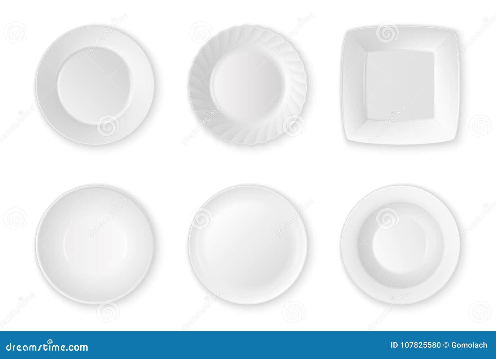 Close up ajustado do ícone vazio branco realístico da placa do alimento do vetor isolado no fundo branco Utensílios dos dispositi