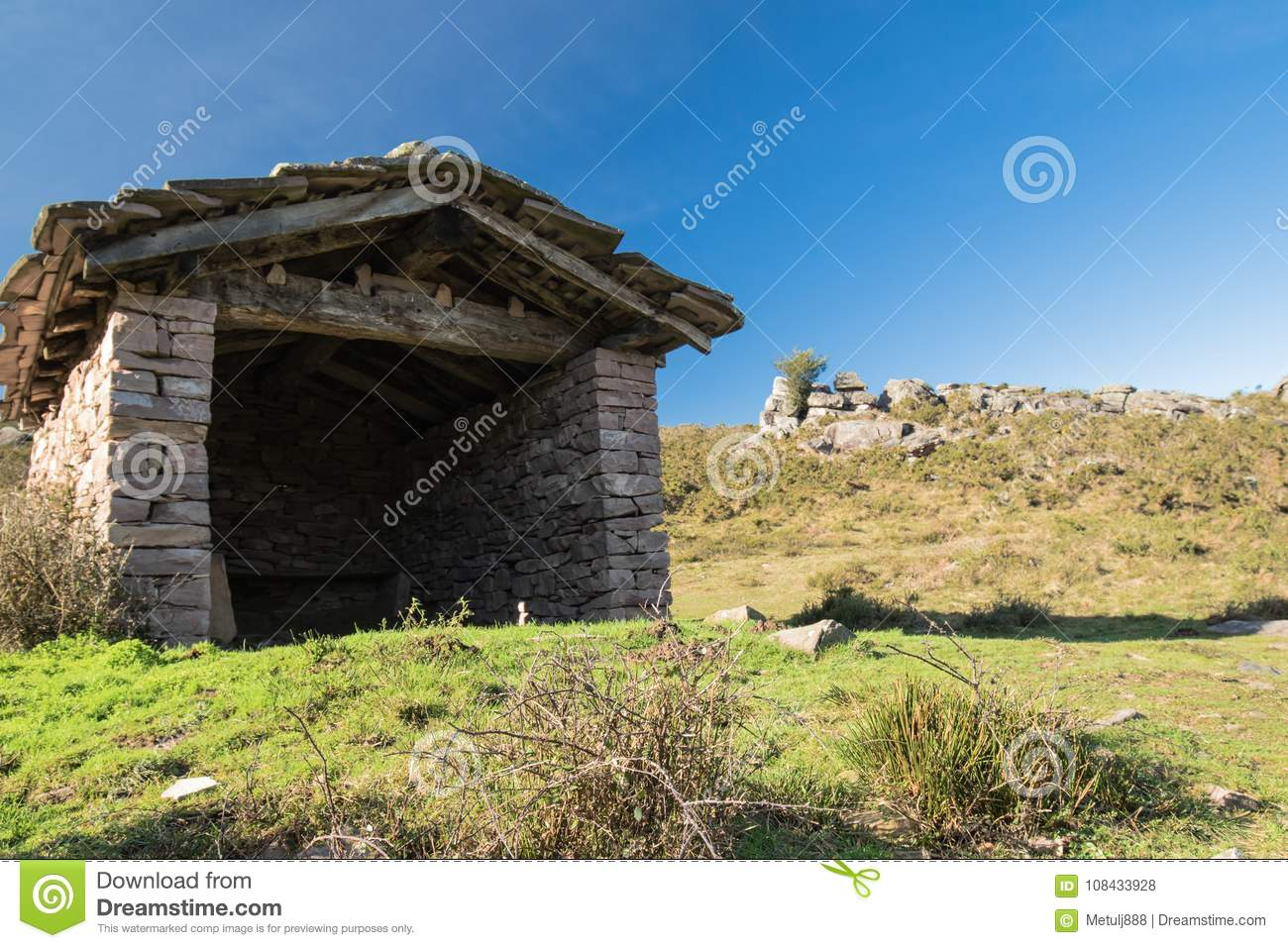 Download Close Up Ancient Beautiful Stone Sheep Barn In Countryside Mountains Basque Country France