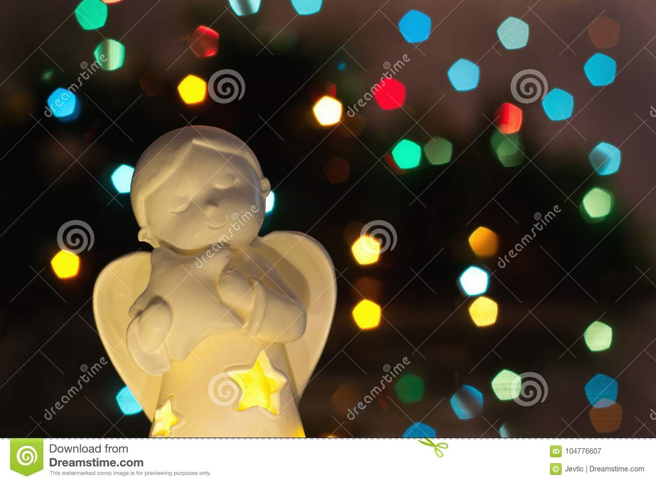 download angel with christmas lights in background stock image image of blue baby