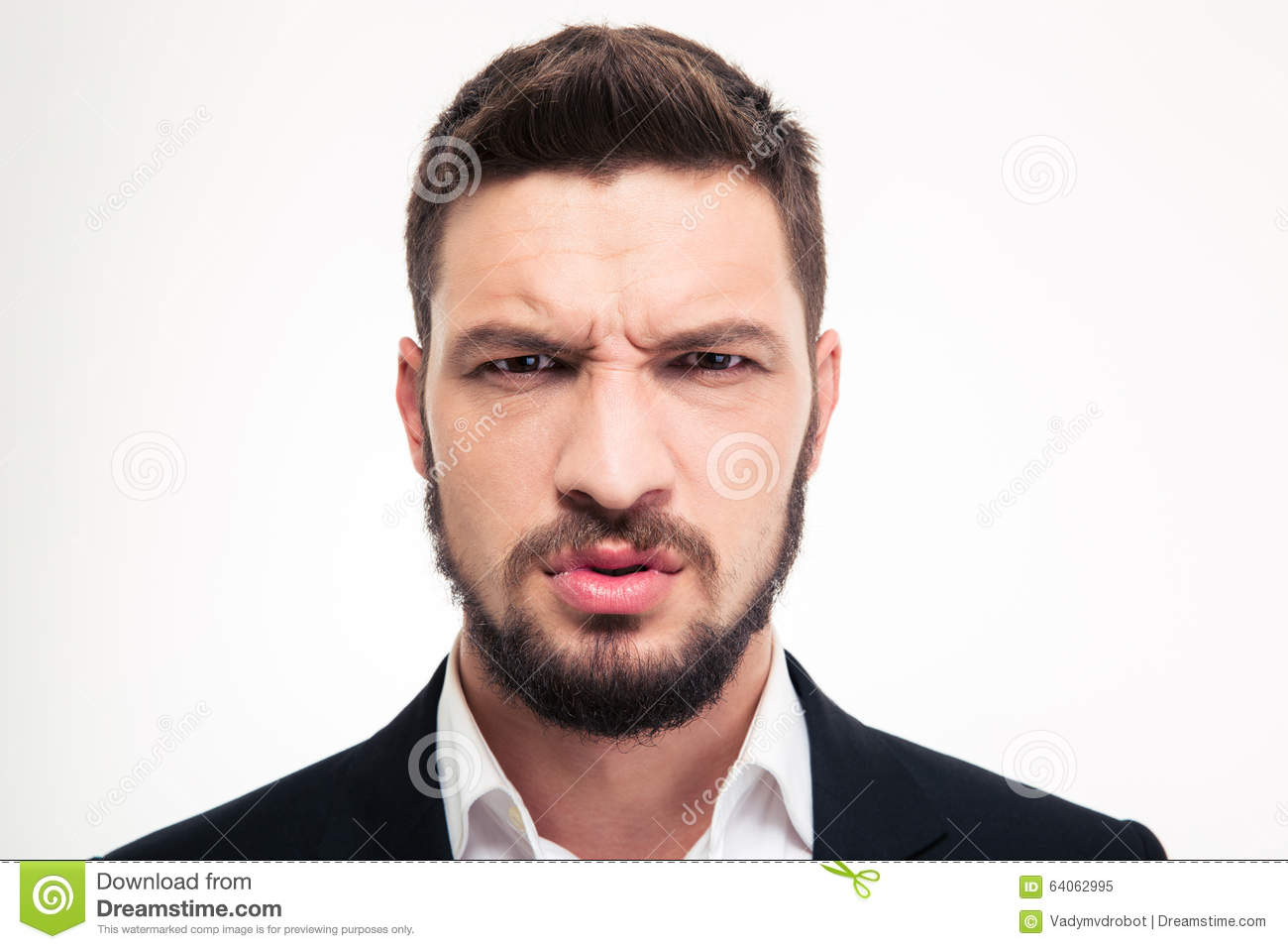 Close up of angry irritated bearded business man looking camera