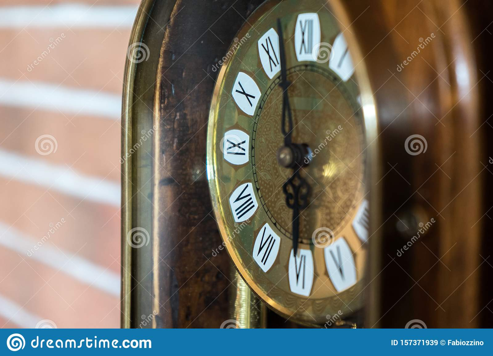 Antique Golden Wooden Clock With Brick Wall Background Stock Image Image Of Architecture Building 157371939