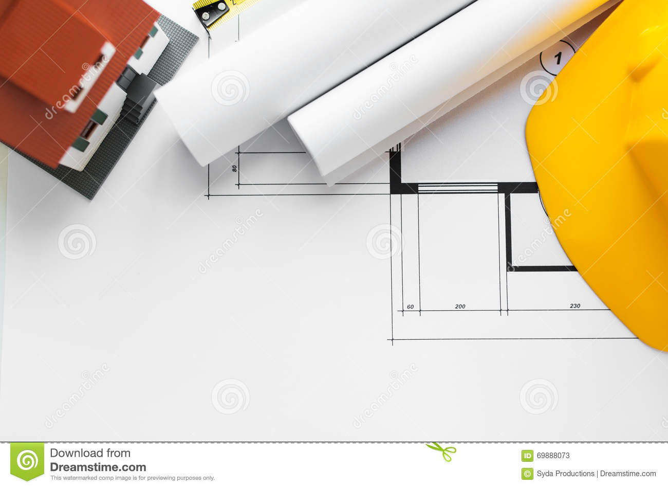 Close up of architectural blueprint and tools stock photo for Home architecture tools