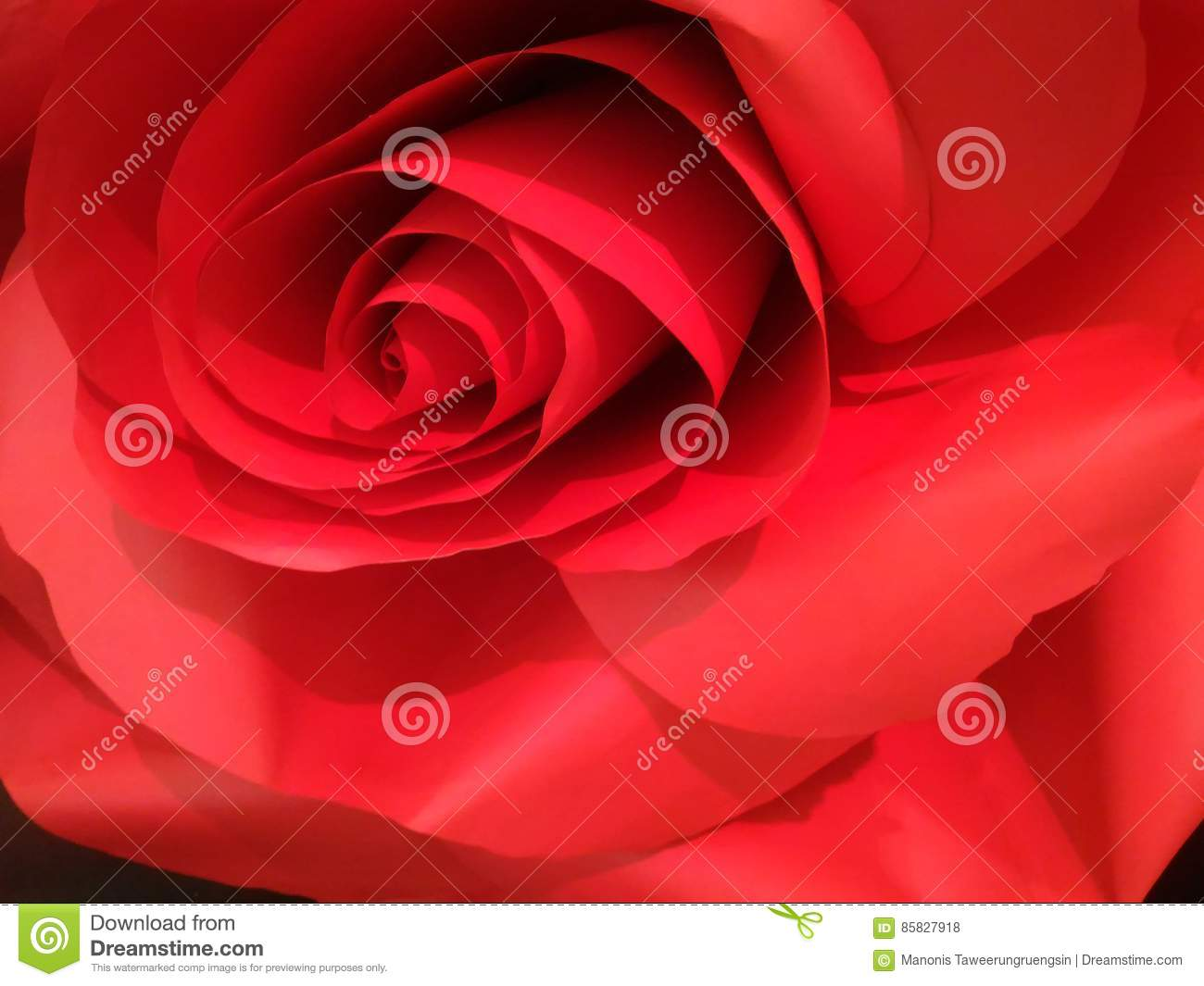 Close Up Of Artificial Red Rose Made By Paper Stock Photo Image Of