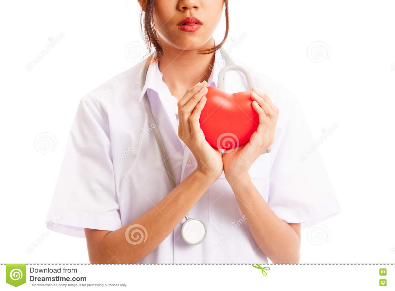 Close up of Asian female doctor hold a red heart and