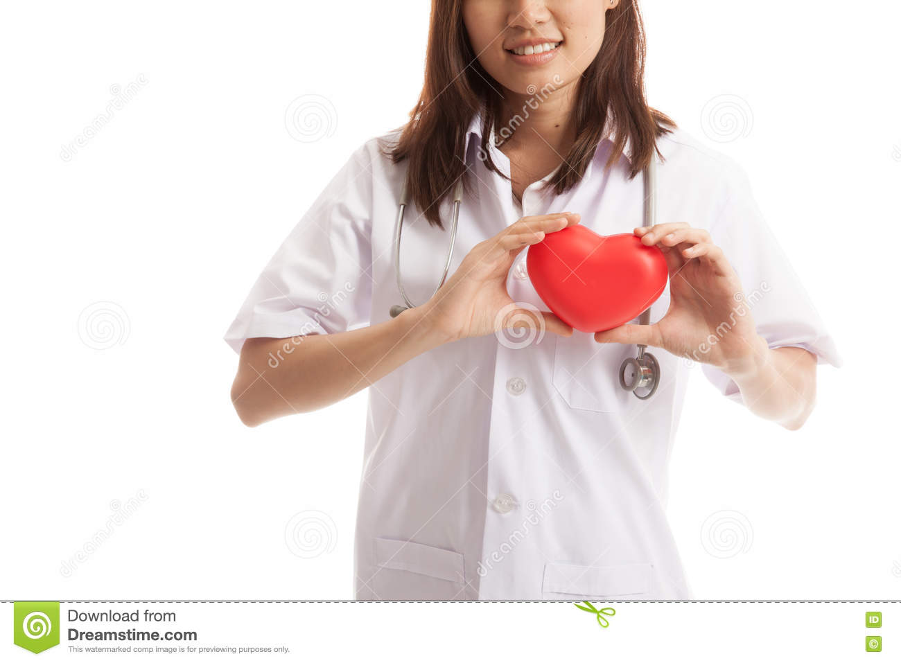Close up of Asian female doctor hold a red heart and.