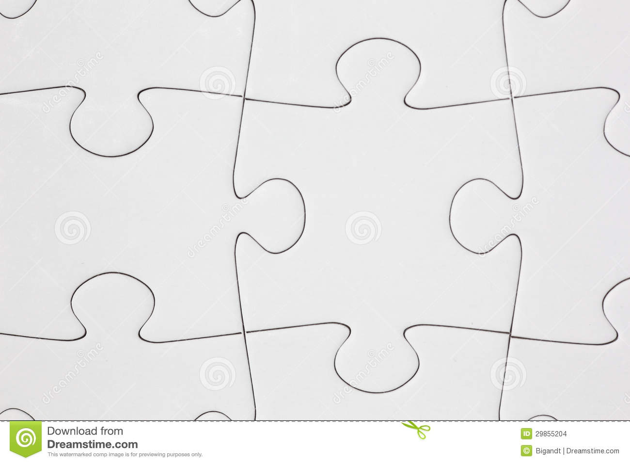 Close Up Of Assembled Jigsaw Puzzle With Blank White Pieces
