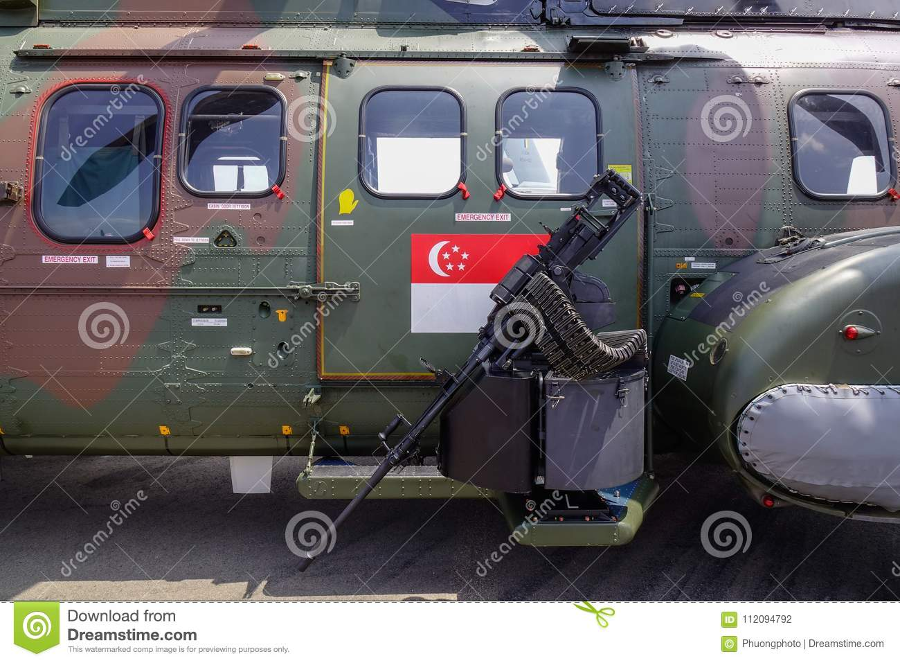 Close-up of attack helicopter