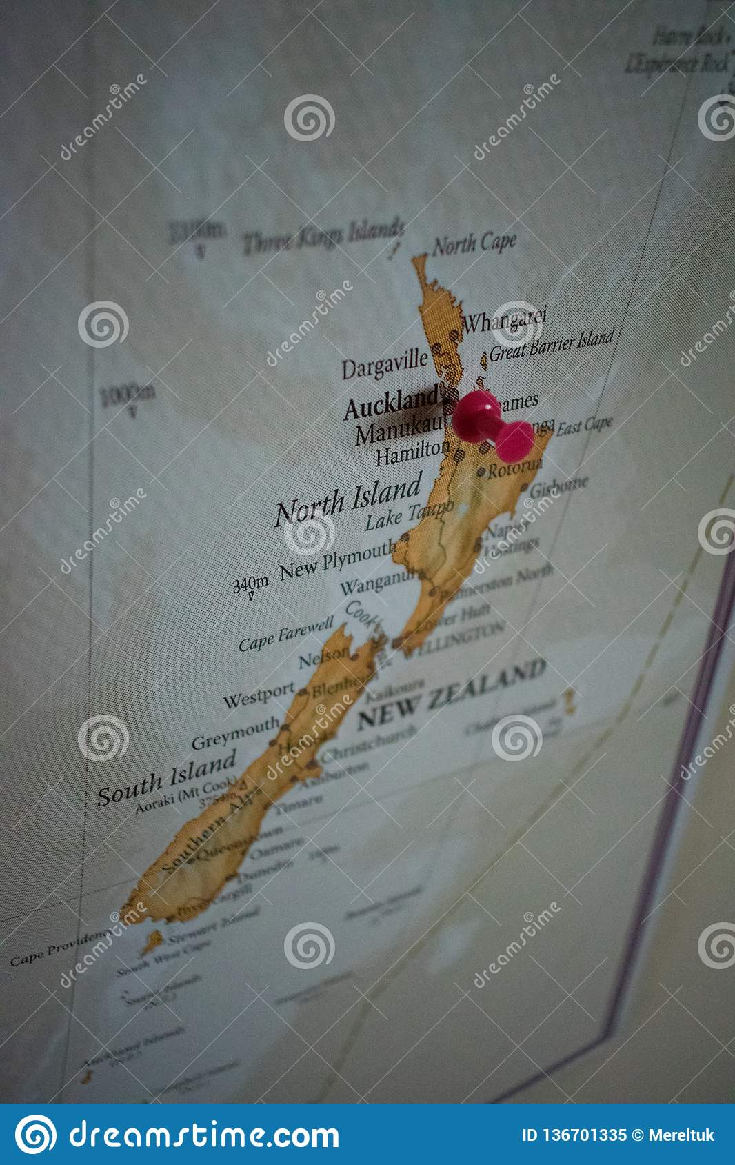 Close Up Of Auckland Pin Pointed On The World Map With A ...