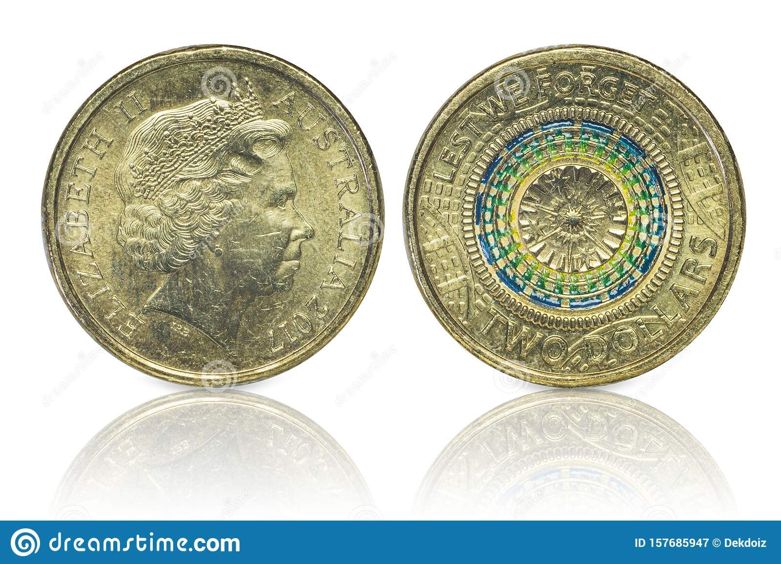 Close up - Australian dollar coins islated on white background with clipping path. Reflection coin on white background. I
