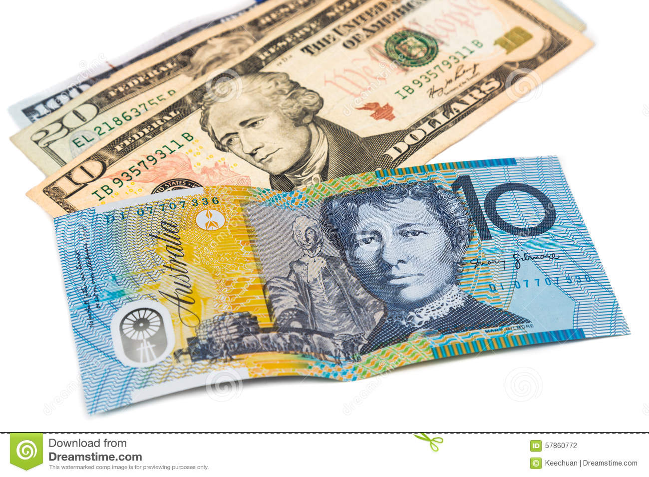 Close Up Of Australian Dollar Currency Note Against US Dollar Stock Photo - Image: 57860772