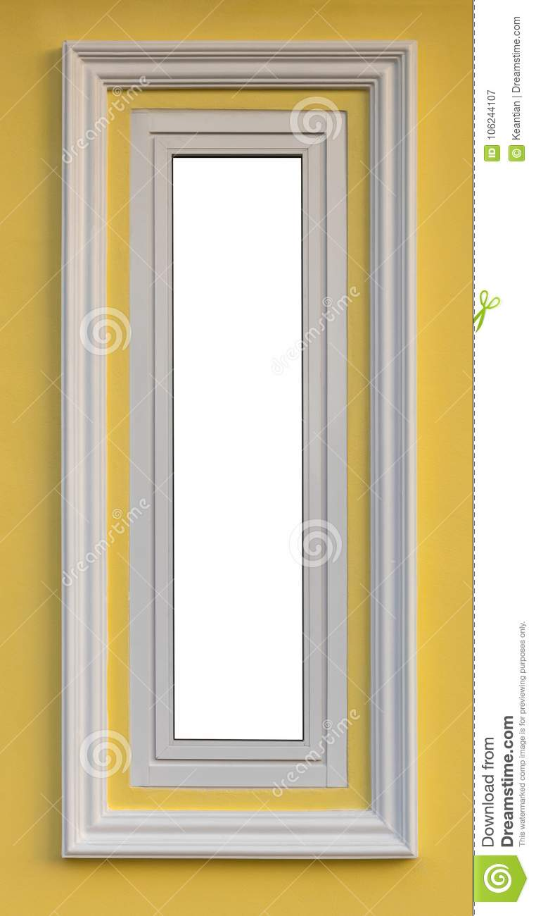 Close To The Long White Window On The Yellow Wall. Stock Image ...
