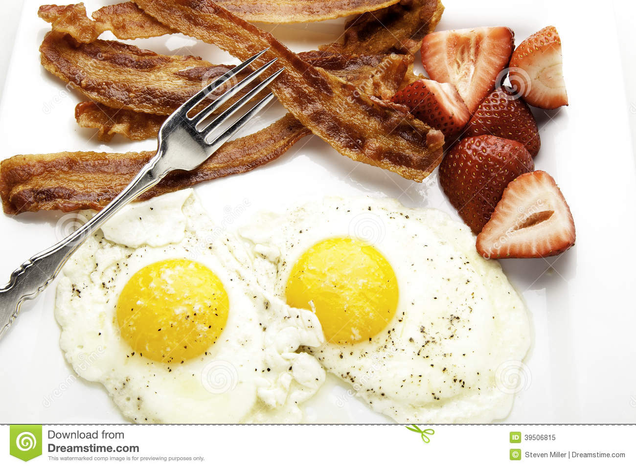 Close Up of Bacon and Eggs