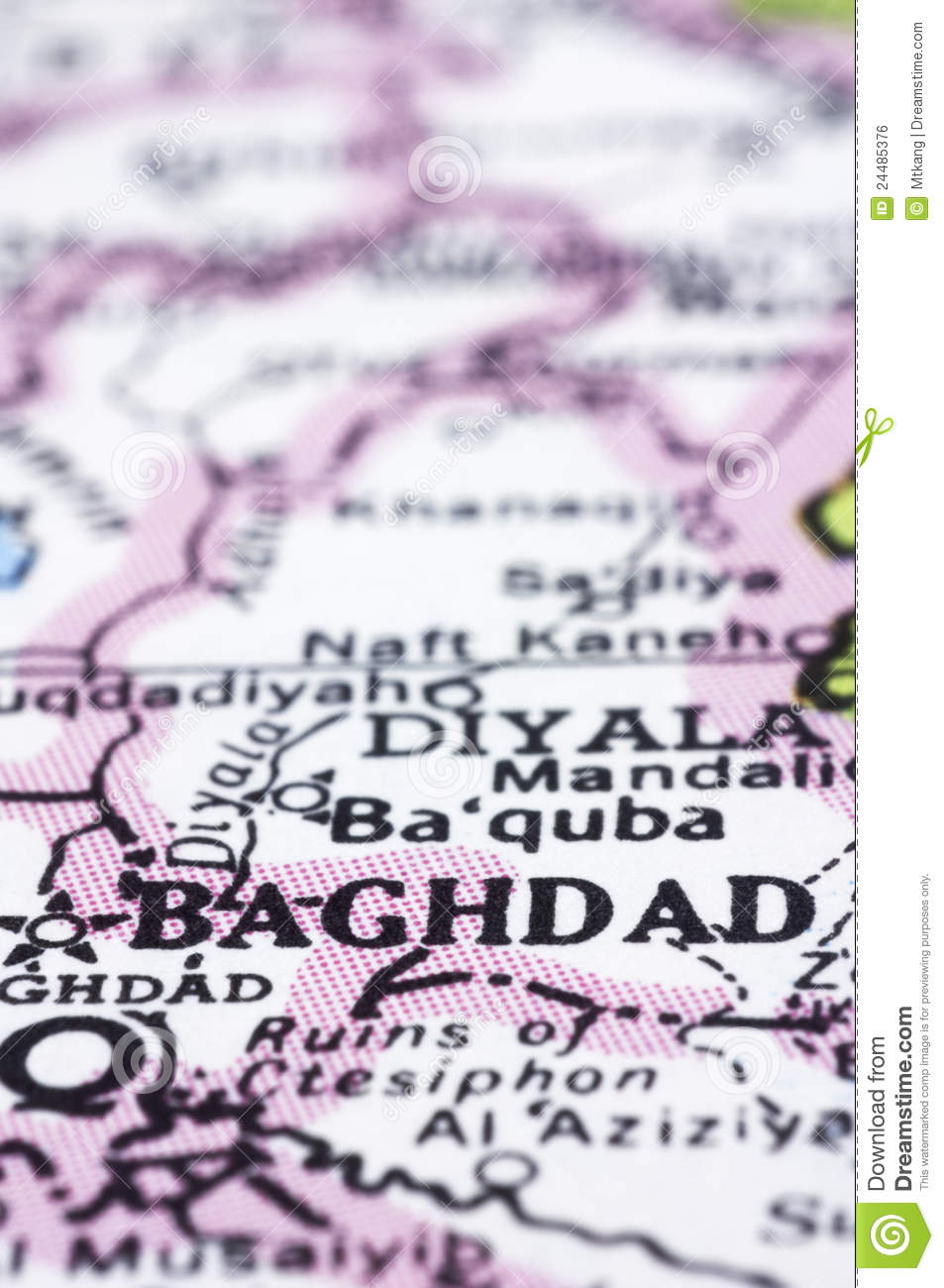 Close Up Of Baghdad On Map, Iraq Stock Photo - Image of maps ...
