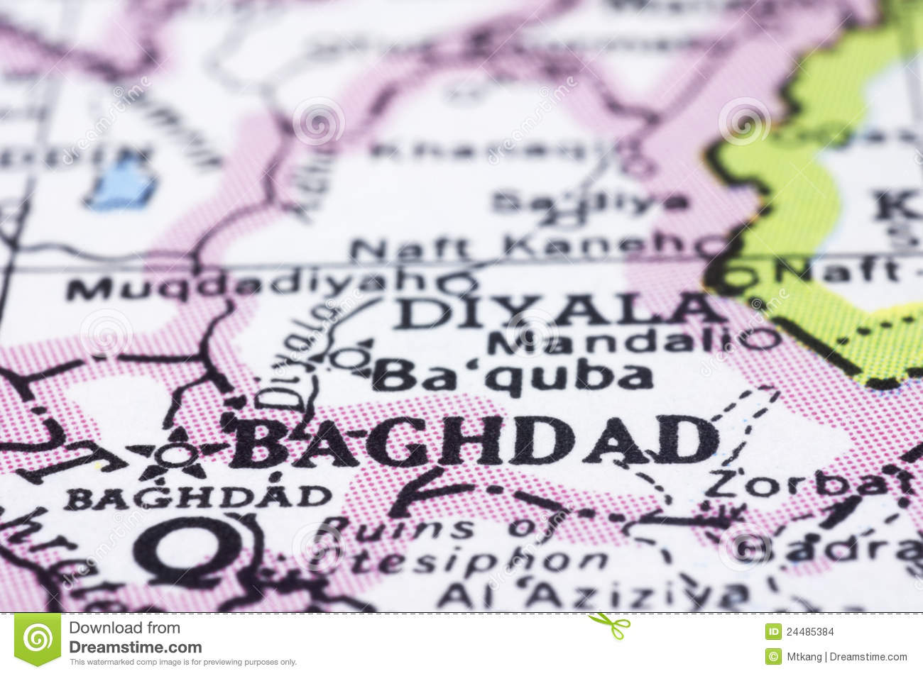 Close Up Of Baghdad On Map, Iraq Stock Photo - Image of close ...