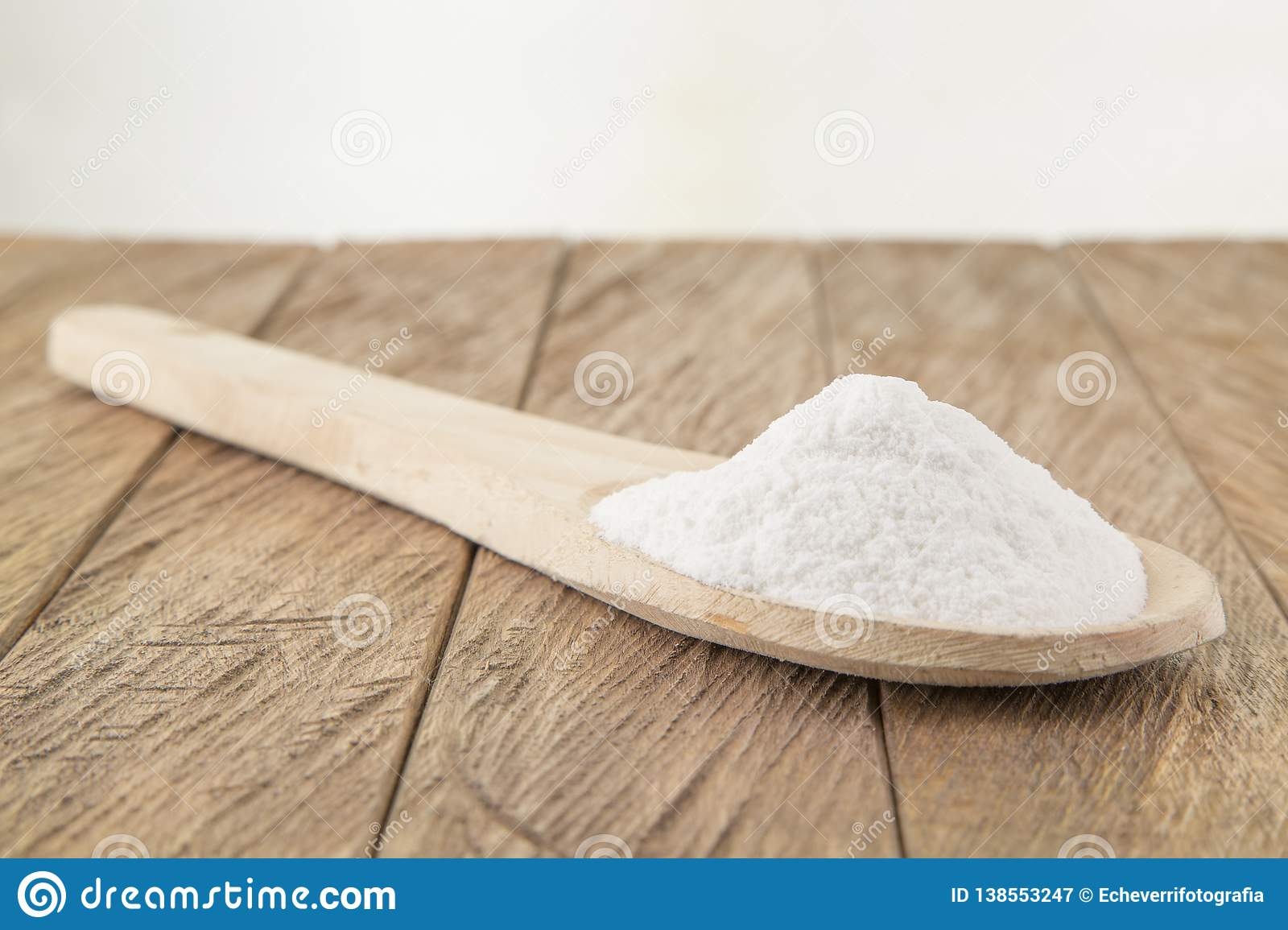 Baking Soda Sodium Bicarbonate In A Wooden Spoon Stock Image