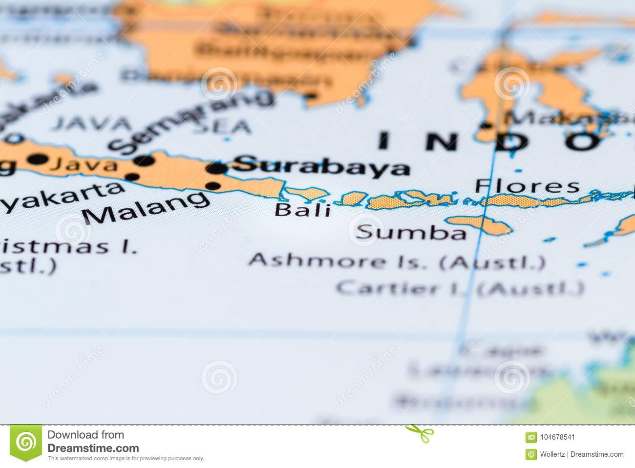Bali on a map stock image. Image of islands, color, information ...