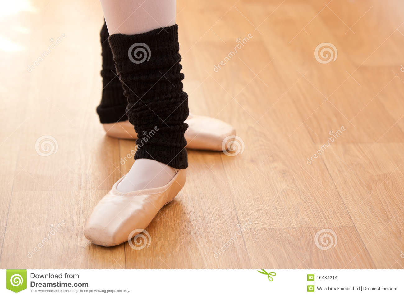Close-up of ballerina s feet during a lesson