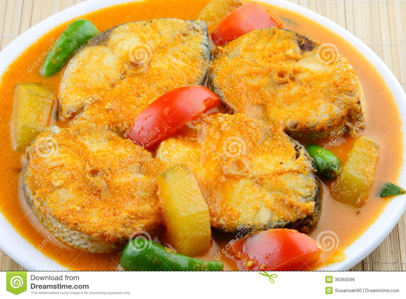 Close Up Of Baracuda Fish Curry Asian Style 5 Royalty
