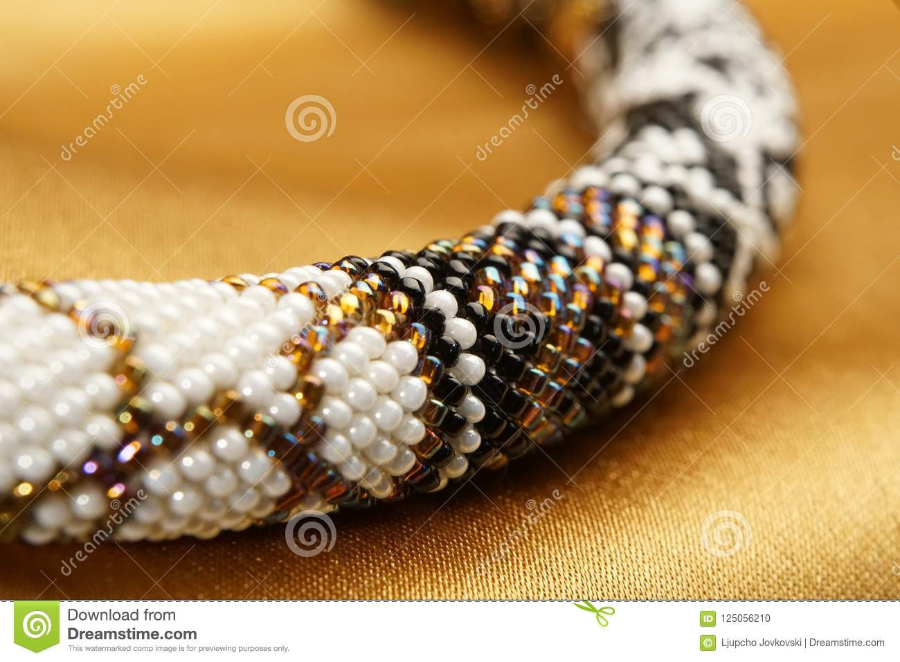 Close Up Of Bead Rope, Seed Beads, Bead Necklace Stock Photo