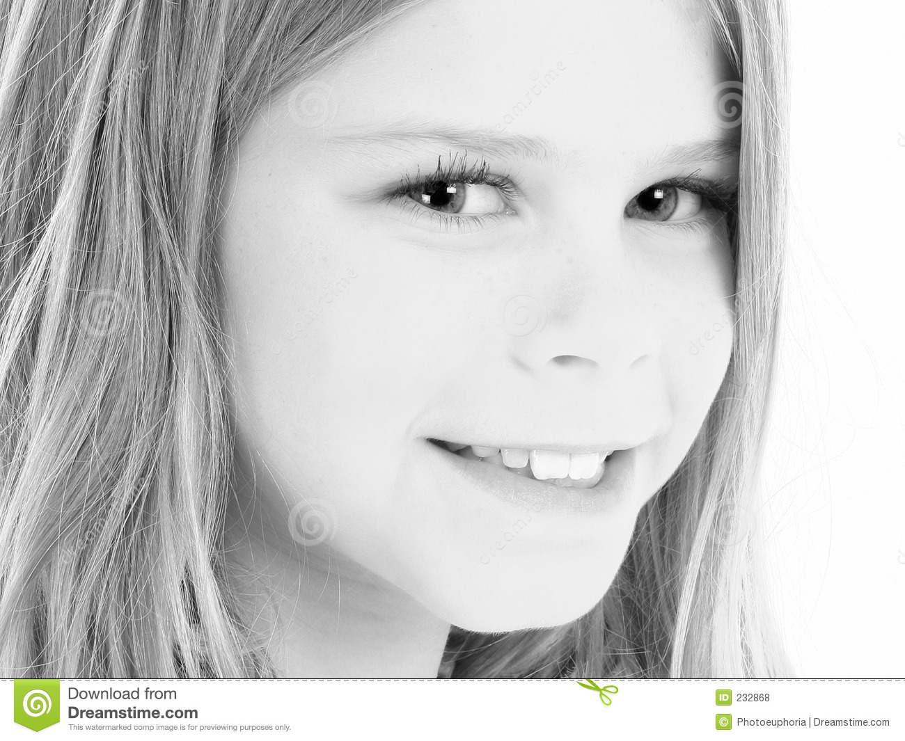 Close Up Of Beautiful 10 Year Old American Girl In Black And Whi ...