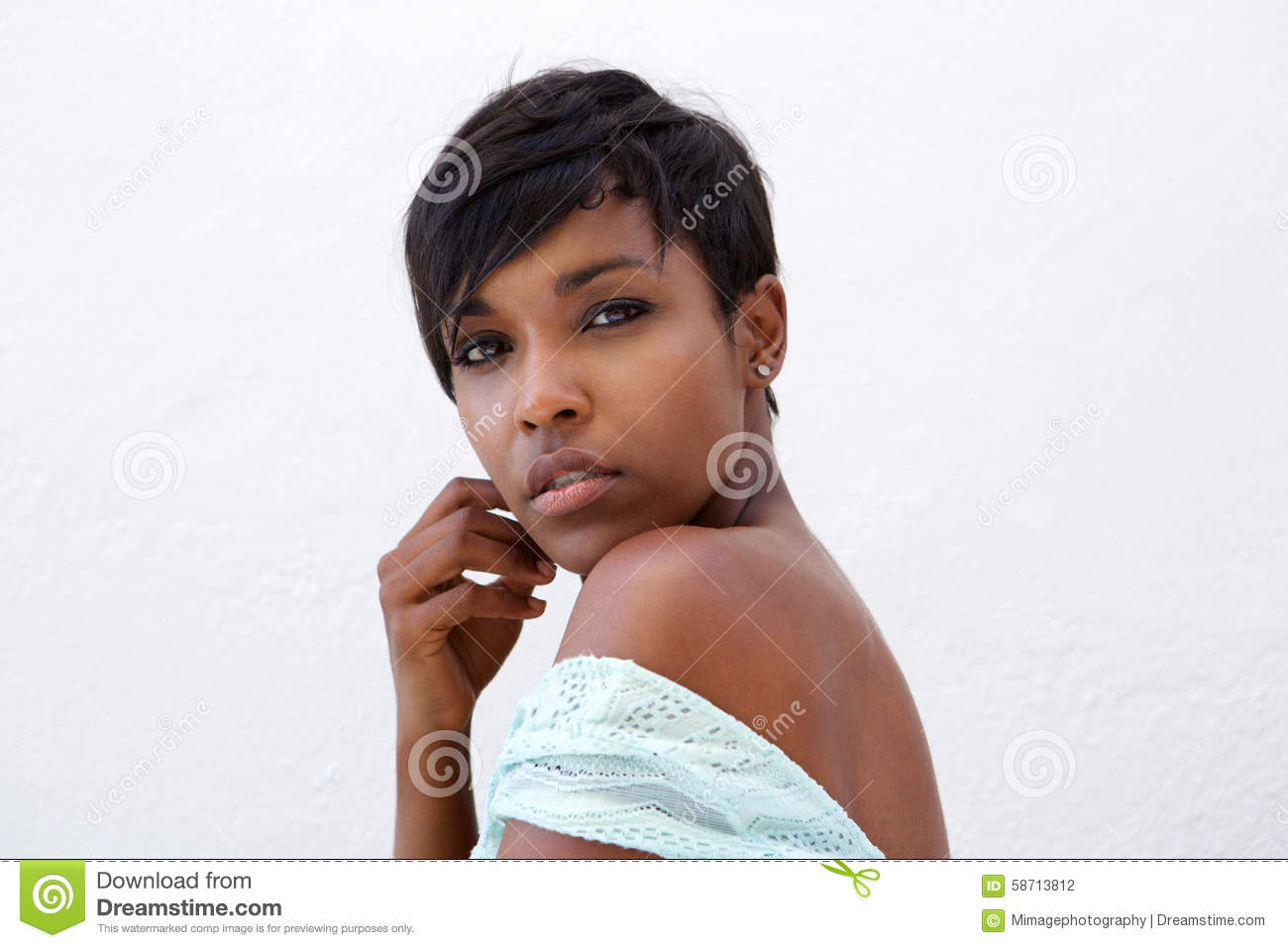 Download Close Up Beautiful African American Fashion Model With Short Hair Stock Photo - Image of eyes, beautiful: 58713812