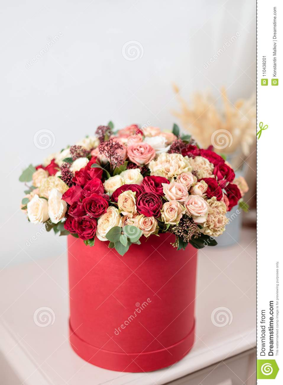 Beautiful Luxury Bouquet Of Mixed Flowers In Red Box. The Work Of ...