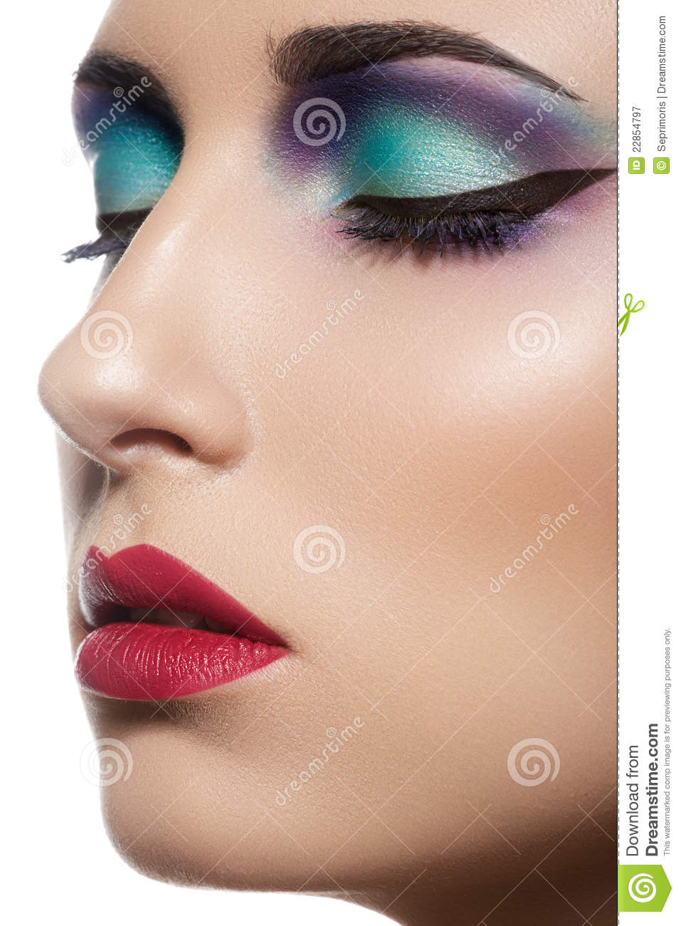 Close-up Beautiful Model Face With Fashion Make-up Royalty ...
