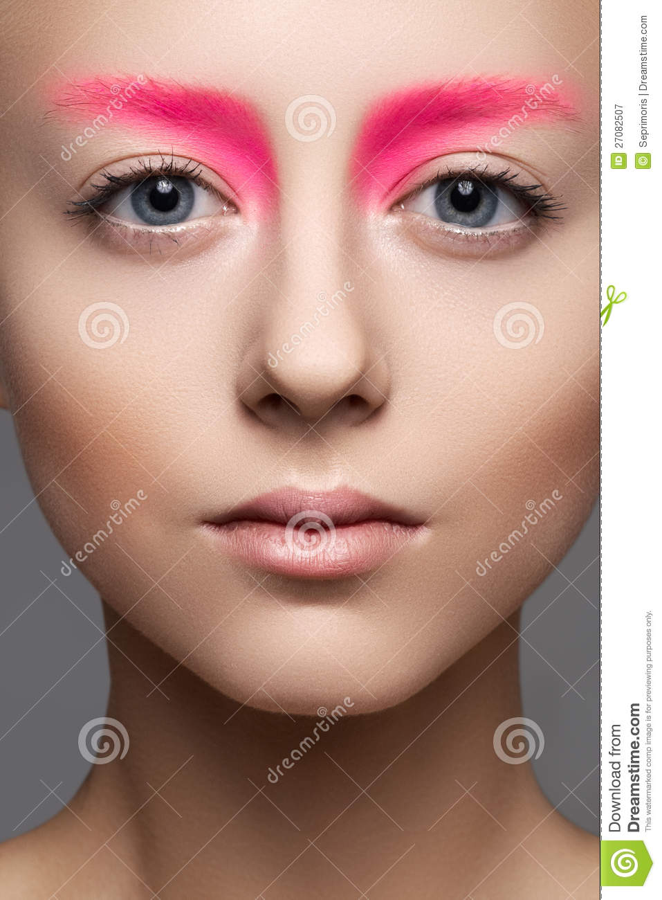 Close-up Of Beautiful Model Face With Fashion Pink Make-up, Clean Skin ...