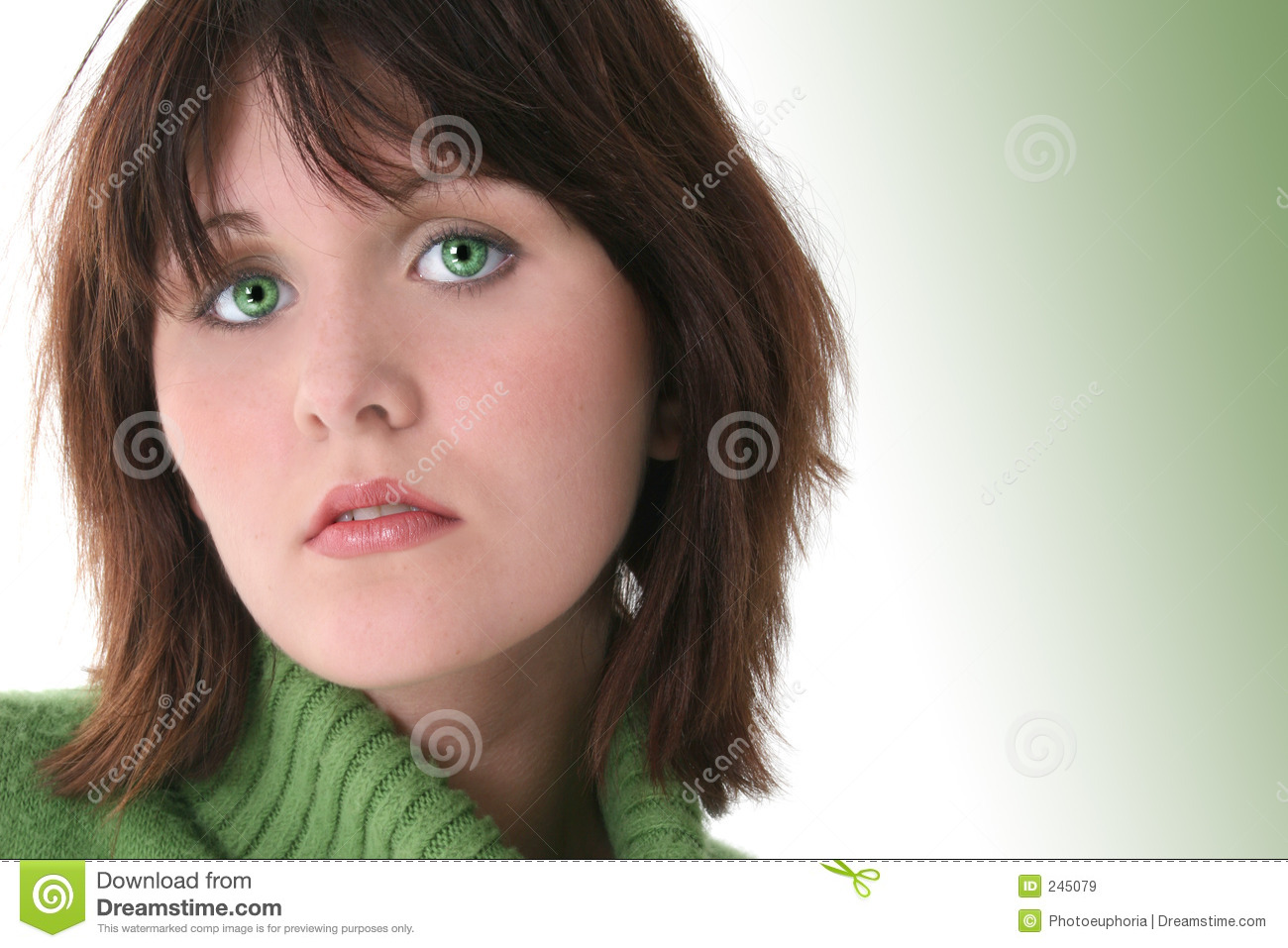 Close Up Of Beautiful Teen Girl With Green Eyes Royalty