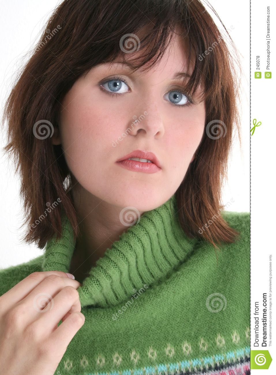 Close Up Of Beautiful Teen Girl In Green Sweater Royalty