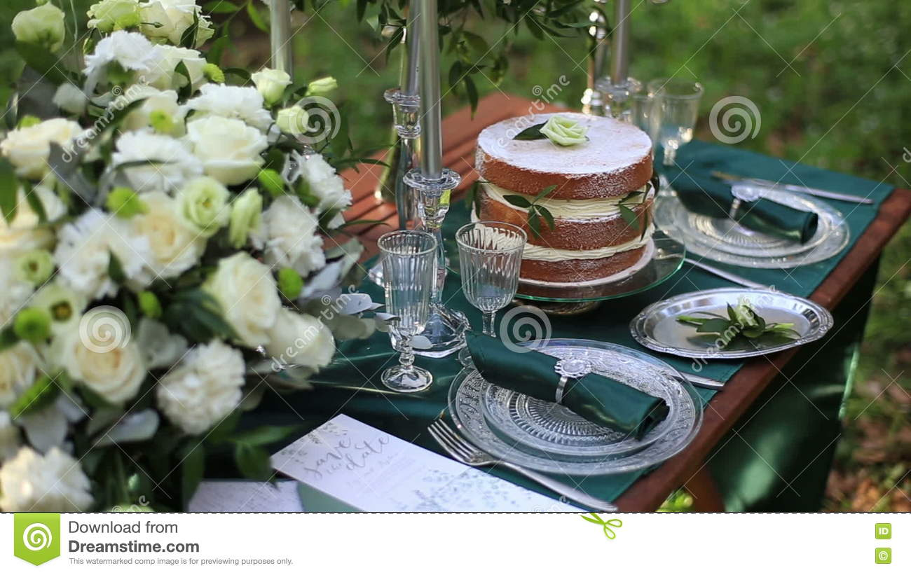 Close Up Of Beautiful Wedding Table Setting In Rustic Style In The ...